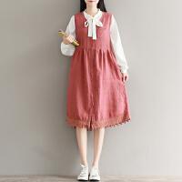 秋装新款日系棉麻无袖连衣裙森女系蕾丝拼接中长款宽松百搭背心裙
