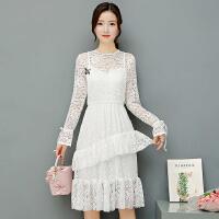 秋装新款连衣裙女新款韩版气质镂空钩花长袖蕾丝蓬蓬裙中长裙