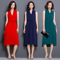 夏天前短后长连衣裙女新款时尚韩版修身显瘦女装中长款裙子潮