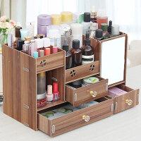 大号木制桌面化妆品收纳盒化妆盒抽屉式带镜子置物架