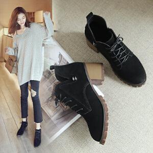 ZHR2017秋冬新款英伦马丁靴复古短靴高跟单靴真皮裸靴粗跟女靴子K33
