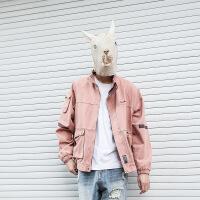 秋季粉色棒球服男士牛仔立领韩版潮流修身复古工装夹克外套