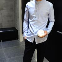 男士衬衫长袖修身型牛津纺青少年时尚休闲纯棉纯色韩版新春款
