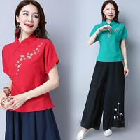 中国风女装夏装新款民族风棉麻汉服改良唐装显瘦文艺范衬衫上衣