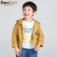 【3件3折 到手价:149】Pawinpaw卡通小熊童装秋男童格子连帽长袖衬衫中大童外套