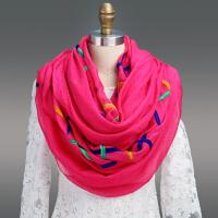 雪纺丝巾女士秋冬季长款围巾学生针织保暖披肩两用围脖春
