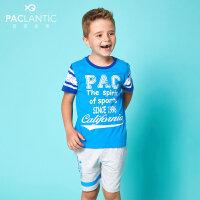 派克兰帝童装男童套装夏季儿童户外运动针织印花短袖套装