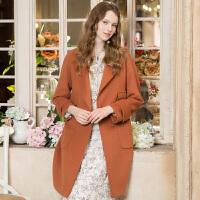 冬装新品 西装领长袖直筒毛呢大衣羊毛外套女D741046D00