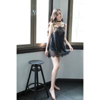 2018新款新款女性情趣睡衣性感吊带透明制服诱惑蕾丝少女内衣花边女冬睡裙 黑色 均码