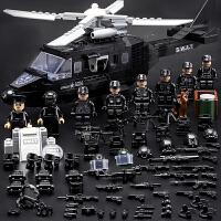 乐高军事积木人仔警察飞虎队狼牙特种兵武器飞机男孩拼装玩具礼物
