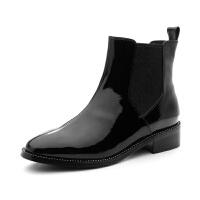 【3折再减80】星期六(ST&SAT)冬季专柜同款漆面牛皮革/绒面羊皮革短靴SS84116647