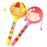 力辉玩具 婴幼儿玩具宝宝卡通笑脸拨浪鼓双面波浪鼓手摇鼓塑胶玩具