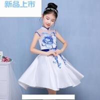 青花瓷短款演出服公主裙中大童女童旗袍女孩生日晚礼服中国风
