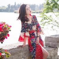 泰国民族风印花沙滩裙女夏季2018新款海边度假雪纺中袖显瘦长裙连衣裙仙 红色