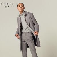 森马毛呢大衣男2018冬季新款羊毛呢大衣中长款韩版青少年外套潮