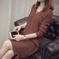 中�L款毛衣女套�^ 秋冬新款��松�n版�W�tV�I加厚��打底衫�B衣裙 X