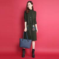 18秋冬新款毛衣女士中长款羊绒衫打底针织连衣裙宽松套头羊毛