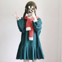 秋冬女装韩版学生裙子灯芯条灯笼袖宽松显瘦长袖连衣裙潮