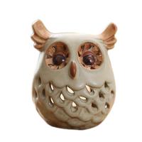 创意猫头鹰蜡烛台摆件 美式室内家居陶瓷装饰品摆设七夕礼物
