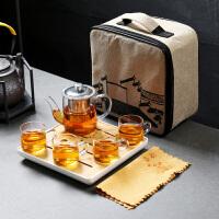 旅行茶具套装便携包迷你便携式车载户外旅游玻璃茶具