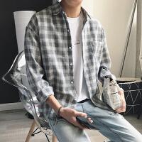 201805281303545492018春季新款复古格子男士长袖衬衫潮男青年宽松衬衣韩版寸衫上衣