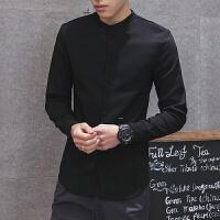 新款秋冬潮男士紧身针织衬衫韩版修身青年立领中国风线衣小码号