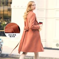 【年中庆 2件2.5折到手价:315】拉夏贝尔毛呢外套女新款修身双面呢中长款流行赫本呢子羊毛大衣