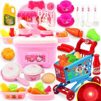 切水果蔬菜女孩宝宝手推车 儿童过家家厨房玩具套装仿真煮做饭厨具