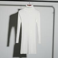 【拍下59】秋冬女士中长款长袖百搭v领紧身针织打底衫毛衣女套头
