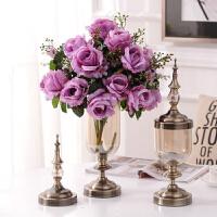 欧式家居饰品样板间装饰玻璃花瓶花器摆件 美式仿真花艺套装摆设