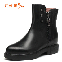 红蜻蜓女靴冬时尚尖头铆钉切尔西靴侧拉链真皮加绒棉靴