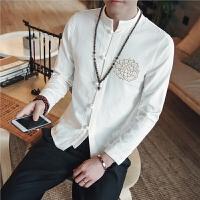 中国风男装长袖中式唐装盘扣亚麻衬衫衬衣刺绣棉麻上衣男大码秋季