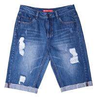 女裤2018夏季新款牛仔裤女破洞五分裤卷边短裤修身直筒裤