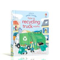 回收车如何工作 Peep Inside How a Recycling Truck Works英文原版翻翻书 3-5岁宝