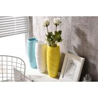 欧式现代简约花瓶家居摆件客厅插花花器创意波纹陶瓷蓝色白色黄色
