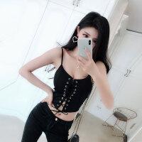 夏季新款韩版短款露脐性感小吊带背心女修身镂空绑带黑色直播上衣