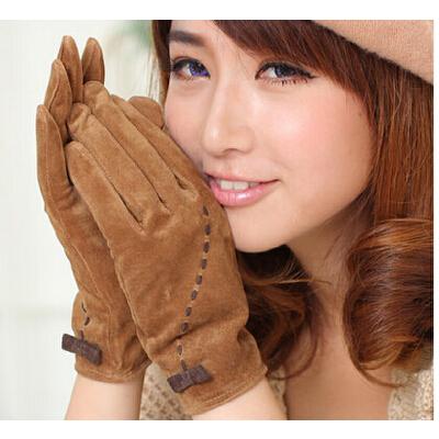 时尚韩版蝴蝶结猪绒面真皮手套可爱保暖薄款手套冬季女士