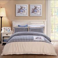 富安娜家纺 酷奇智儿童卡通床品四件套纯棉色织提花床单被套