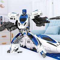 变形玩具金刚机器人高铁小火车电动套装轨道车6男孩