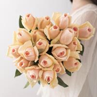 饰绢花干花花束客厅插花假花仿真花摆件YH手感保湿仿真玫瑰花束装