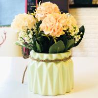 田园花朵清新创意陶瓷花盆仿真绿植盆景餐厅桌面装饰摆件植物盆栽 浅黄色 锦绣花球