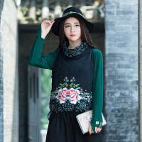 绣花马甲女秋装新款民族风女装盘扣单排扣无袖中国风百搭外套