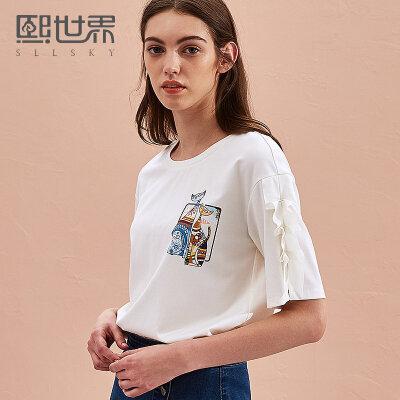 熙世界2018夏装新款印花圆领五分袖T恤女宽松荷叶袖上衣112ST056