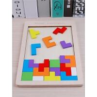 儿童拼图七巧板智力开发积木1幼儿2男女孩5木质3-4-6周岁玩具
