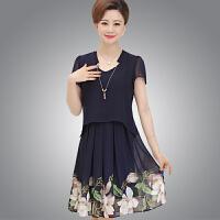连衣裙女夏新款30-40-50岁中年妈妈装中老年显瘦气质短袖裙子