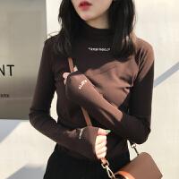 加绒半高领T恤秋冬季新款打底衫女修身显瘦刺绣纯色长袖T恤学生chic上衣