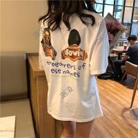 2018韩国春季后背英文人像T恤新款前后字母印花短袖宽松打底衫女