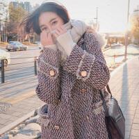 呢子大衣女千鸟格中长款韩版2018秋冬新款加厚显瘦流苏毛呢外套女
