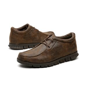 jm快乐玛丽秋冬季系带舒适素色男鞋套脚商务休闲鞋