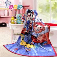 【年度钜惠 限时秒杀】富安娜出品 酷奇智儿童卡通印花天鹅绒毯午睡小憩盖毯150*200cm